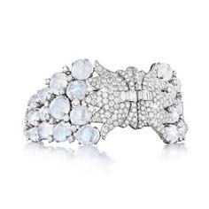 Verdura DOUBLE-CLIP BRACELET Moonstone, diamond and platinum. Convertible to double clips.