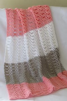 Try this quick and easy crochet blanket for baby. This afghan pattern is made up… Try this quick and easy crochet blanket for baby. This afghan pattern is made up of a beautiful stitch and is perfect for beginners. Crochet Afghans, Easy Crochet Blanket, Crochet Stitches Patterns, Crocheted Baby Blankets, Crotchet Baby Blanket, Baby Afghan Patterns, Crochet Stitches For Beginners, Easy Baby Blanket, Beginner Crochet