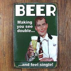 BEER Funny Ads Lager Tin Sign Metal Wall Decor Bar Pub Tavern Display Bier GAG