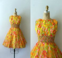 1960s Vintage Dress  60s Floral Chiffon Party by Sweetbeefinds