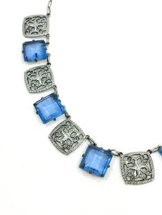 Art Deco Crystal Necklace Open Back Blue Crystals Rhodium