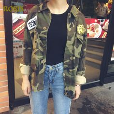 New Fashion Boyfriend Style Camouflage Military Jacket Women Denim Camo Jackets jaqueta. Item Type: Outerwear & CoatsOuterwear Type: JacketsGender: WomenStyle: FashionDecoration: Hollow Out,Button,Embroidery,Pockets,Hole,AppliquesClosure Type: Single BreastedClothing Length: RegularSleeve Style: RegularMaterial: Polyester,CottonPattern Type: SolidModel Number: W001161Sleeve Length(cm): FullCollar: Turn-down CollarType: RegularHooded: Nogender: Women, Lady,Womanitem type: bomber jacket…