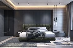 Strong interior with a gentle look on Behance - Bedroom Design Ideas Master Bedroom Design, Home Bedroom, Modern Bedroom, Bedroom Furniture, Bedroom Decor, Bedroom Ideas, Contemporary Bedroom, Bedroom Wall, Outdoor Furniture