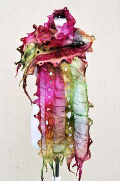 Beautiful scarf, Felted scarf, silk, wool, nuno, felted, gift, fibre art, green, pink, silk organza