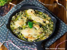 Poulet à la crème et épinards Plats Healthy, Batch Cooking, Quiche, Healthy Recipes, Healthy Food, Keto, Chicken, Breakfast, Ethnic Recipes