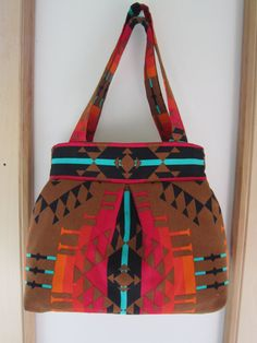 Southwestern Linen Pleated Handbag Purse Ipad by Antiquebasketlady