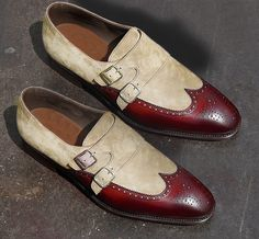 Handmade Two Tone Beige Burgundy Leather Shoes Wing Tip Suede Formal Shoes Men #Handmade #DoubleMonkShoes