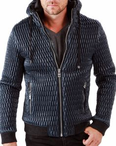 Coated Quilt Hoodie Bomber Jacket