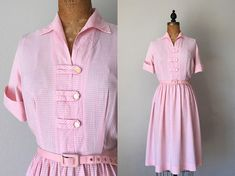 Vintage 1950s Shirtwaist Dress / 50s 60s Checkered Gingham Dress - Large