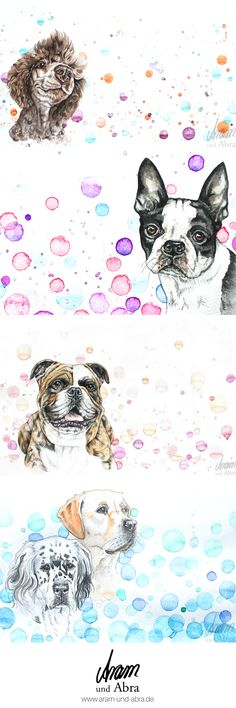 Zeichnen, bunte Hunde, Aquarell