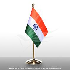Indian miniature table flag of size x with a gold-plated plastic round base, staff and finial top Table Flag, Twinkle Twinkle, Flags, Plating, Plush, Miniatures, Base, Indian, Outdoor Decor
