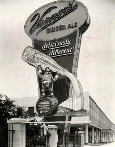 Vintage Vernor's plant & sign on Woodward Avenue, Detroit. 'Deliciously Different!'