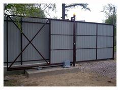 Gate Wall Design, Sliding Gate, Chain Link Fence, Front Gates, Driveway Gate, Outdoor Gardens, Acre, Architecture Design, Garage Doors