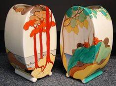[right] 'Perfect Secrets' pattern; both Bonjour-shape. Art Nouveau, Vintage Pottery, Vintage Ceramic, Ceramic Pottery, Pottery Art, Pottery Ideas, Clarice Cliff, Art Deco Design, Diy Design