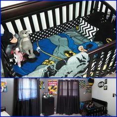 Holy Nursery, Batman! So cute for your little superhero! #nurseryideas #batmanbed #superheronursery