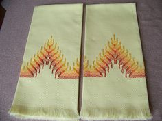 Pair of Vintage Yellow Huck Towels with Swedish by vintagelinens1, $3.50