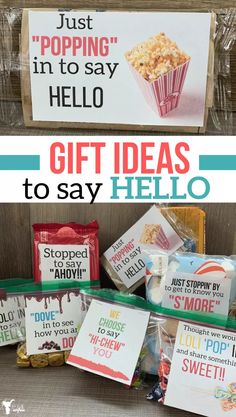 Fun, Delicious Gift Ideas To Say HELLO - Uplifting Mayhem Looking for a gift that is sweet and easy! Here are a bunch of fun gift ideas to say hello to a friend, neighbor or eve. Easy Gifts, Cute Gifts, Cute Gift Ideas, Simple Gifts For Friends, Funny Gifts, Fun Ideas, New Neighbor Gifts, Gifts For Neighbors, Employee Appreciation Gifts