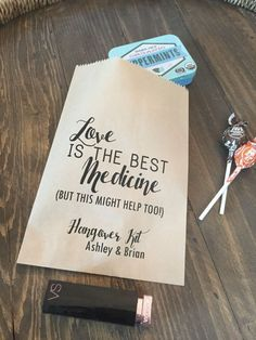 Hangover kit tags 175 by 125 inches hangover kit wedding favor wedding hangover kit bags love is the best medicine favor bags custom printed on kraft brown paper bags junglespirit Gallery