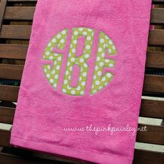 Giant Applique Monogram Beach Towel. choose color and fabric. want for spring break