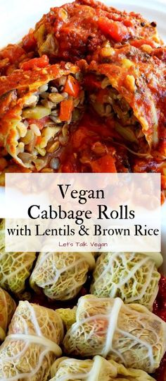 This is my grandma's traditional cabbage roll recipe, but of course veganized! They are easy to make, relatively cheap, & will leave you with some leftovers great for lunches. Vegan Cabbage Recipes, Vegan Cabbage Rolls, Steamed Cabbage, Cabbage Rolls Recipe, Lentil Recipes, Vegan Dinner Recipes, Veggie Recipes, Whole Food Recipes, Vegetarian Recipes