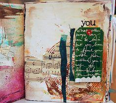 Dina Wakley art journal page Visit dinastamps.typepad.com