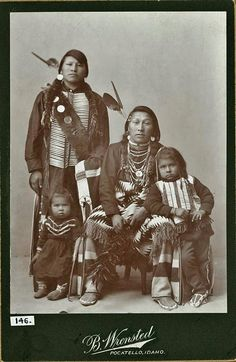 """""""Standing in back: James Arimo (the youngest son of Arimo) L-R in front: Stella Edmo, Jack Edmo, Eugene Edmo - Bannock - By Pocatello photographer Benedicte Wrensted. Native American Pictures, Native American Tribes, Native American History, Native Indian, First Nations, Portraits, Cowboys, Amazing People, Awesome Things"""