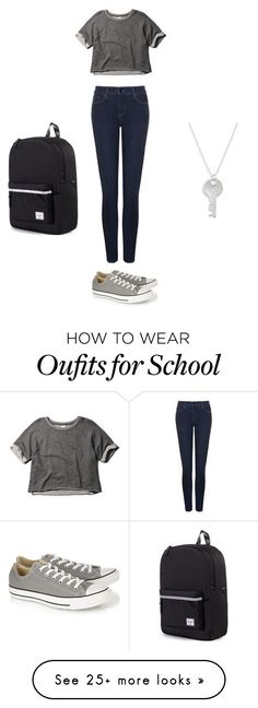 """""""Teenage School Outfit"""" by michelle-a-gonzales on Polyvore featuring Abercrombie & Fitch, Converse, NYDJ, The Giving Keys and Herschel Supply Co."""