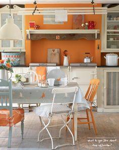 Orange & grey kitchen