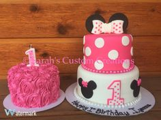 Minnie Mouse pink tiered birthday cake with matching smash cake by Sarah's Custom Creations