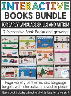 Interactive Books for Special Education Classrooms and Preschool Speech Therapy - Interactive Books for fall, winter, spring, summer, and more themes; teach WH questions, where questions, verbs, object functions, and more! Great for children with autism o