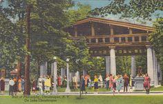 Hall of Philosophy, Chautauqua, NY - Vintage Linen Postcard - Unused (Y)