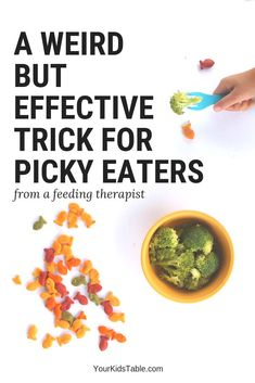 """Recipes For Picky Eaters This is one of my favorite """"tricks"""" or tip for picky eaters from toddlers to teens. It may sound a little strange, but it is powerful and might just work! Picky Toddler Meals, Kids Meals, Toddler Snacks, Toddler Dinners, Foods For Picky Toddlers, Baby Meals, Clean Eating Snacks, Healthy Snacks, Healthy Recipes"""
