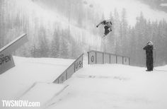 Chas Guldemond was blasting these backside 180 tail grabs off the flat bar. It was tricks like these that helped land him in third.  PHOTO: Nick Hamilton   Mark McMorris and Spencer O'Brien win the 31st Burton US Open in Vail Colorado   TransWorld SNOWboarding Magazine