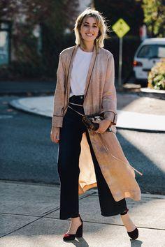 Black pants, white tee, long cardigan, burgundy Mary Janes.