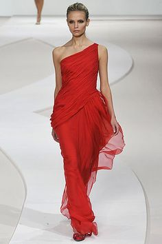 The couture house's signature red dress by Alessandra Facchinetti, creative director for Valentino, Fall 2008.