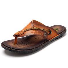 Summer Men Leather Sandals Flip Flops Soft Sole Slippers Beach Shoes 7f738c6825a