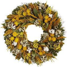Spread a little sunshine at happy family gatherings this season with our cheerful wreath. Handcrafted from preserved leaves, flowers and other foliage, it will bring its natural beauty to your mantel, doorway, picture window or tabletop for years to come.