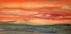 """Contemporary Landscape-Blazing Sky Reflected # 8 by Kimberly Conrad Acrylic ~ 18"""" x 36"""""""