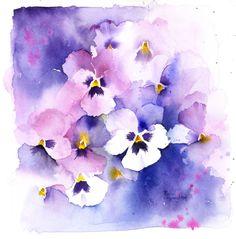 Watercolor Cards, Abstract Watercolor, Watercolour Painting, Watercolor Flowers, Watercolors, Pansies, Flower Art, Watercolor Art, Cartonnage