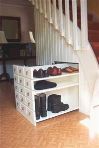 Mom this is what you should do hidden shoe storage. under-stairs storage that slides out is much more likely to be efficiently used than if you have to crawl in to find something! Shoe Storage Under Stairs, Stair Storage, Hidden Storage, Diy Storage, Storage Spaces, Creative Storage, Home Organization, Organizing, My Dream Home