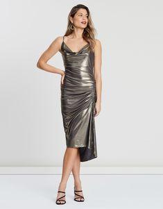Naya Shiny Midi Dress Dresses Online Australia, Buy Dresses Online, Metallic Dress, Women, Fashion, Moda, Fashion Styles, Fashion Illustrations, Woman
