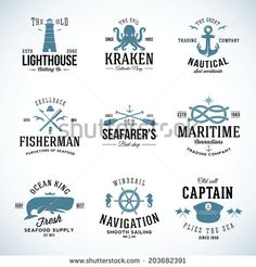 Set of vintage nautical labels and signs with retro typography anchors steering wheel knots seagulls wale. Set of vintage nautical labels and signs with retro typography anchors steering wheel knots Nautical Logo, Vintage Nautical, Nautical Theme, Nautical Design, Nautique Vintage, Water Logo, Typography, Lettering, En Stock