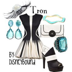 Tron by Disneybound - WOW!  LOVE that dress!  The jewelry colors are amazing and the bag and shoes are awesome!