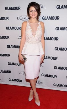 SELENA GOMEZ in Giambattista Valli at the 2012 Glamour Women of the Year Awards. Rupert Sanderson heels and a Judith Leiber clutch complete her look.