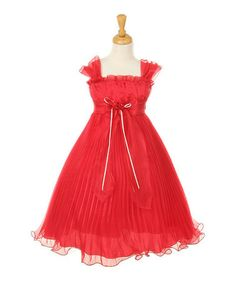 Loving this Coral Bow Pleated Babydoll Dress - Toddler & Girls on #zulily! #zulilyfinds