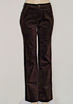 New CAbi Size 10 Brown Velveteen Jean Style Boot Cut Pant Stretch Velvet Carol A…