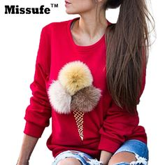 Missufe Fashion Pullovers 3D Artificial Fur Ball Hoodies Autumn Winter Sweatshirt Ice Cream Printed Women Top Jumpers Tracksuit