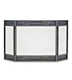 Lanier Tri-Panel Fireplace Screen in Natural Iron Finish