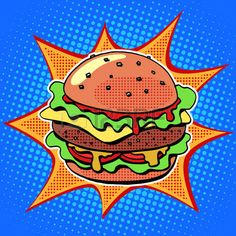 pop art food: Fast food Burger with sesame meat salad and cheese pop art retro style. Healthy and unhealthy food. Restaurant business. Colorful image of a sandwich on a retro background in the style of comics