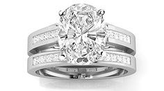 128 Carat GIA Certified Oval Cut 14k White Gold Channel Set Princess Cut Bridal Set Diamond Engagement Ring Wedding Band GH Color VVS1VVS2 Clarity >>> Learn more by visiting the image link.